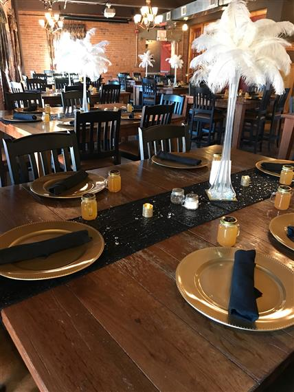 table set up with decorations for a private party