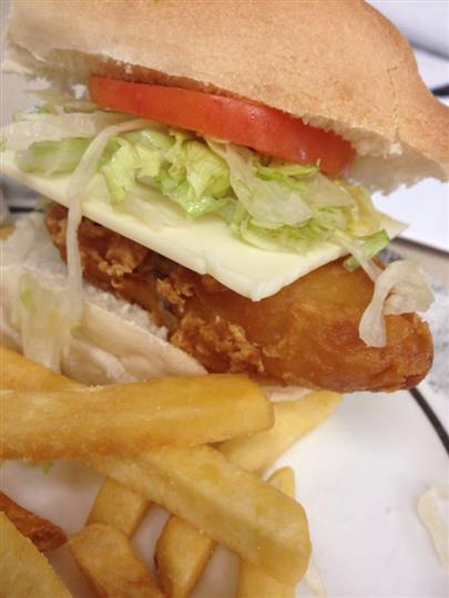 Chicken sandwich with french fries