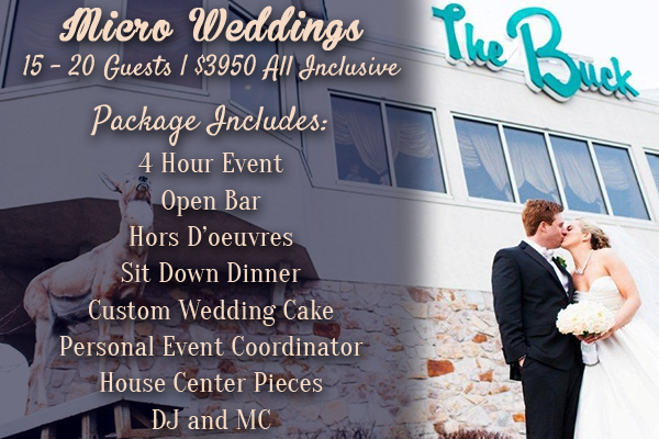 Micro Weddings 15 - 20 Guests | $3950 All Inclusive package includes 4 Hour Event Open Bar Hors D'oeuvres Sit Down Dinner Custom Wedding Cake Personal Event Coordinator House Center Pieces DJ and MC