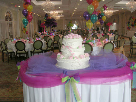 birthday cake with balloons in the background