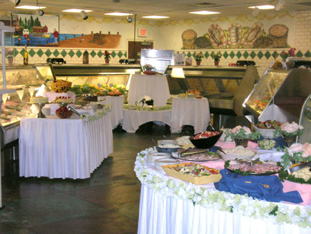 several round buffet tables