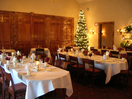 banquet room with a decorated christmas tree