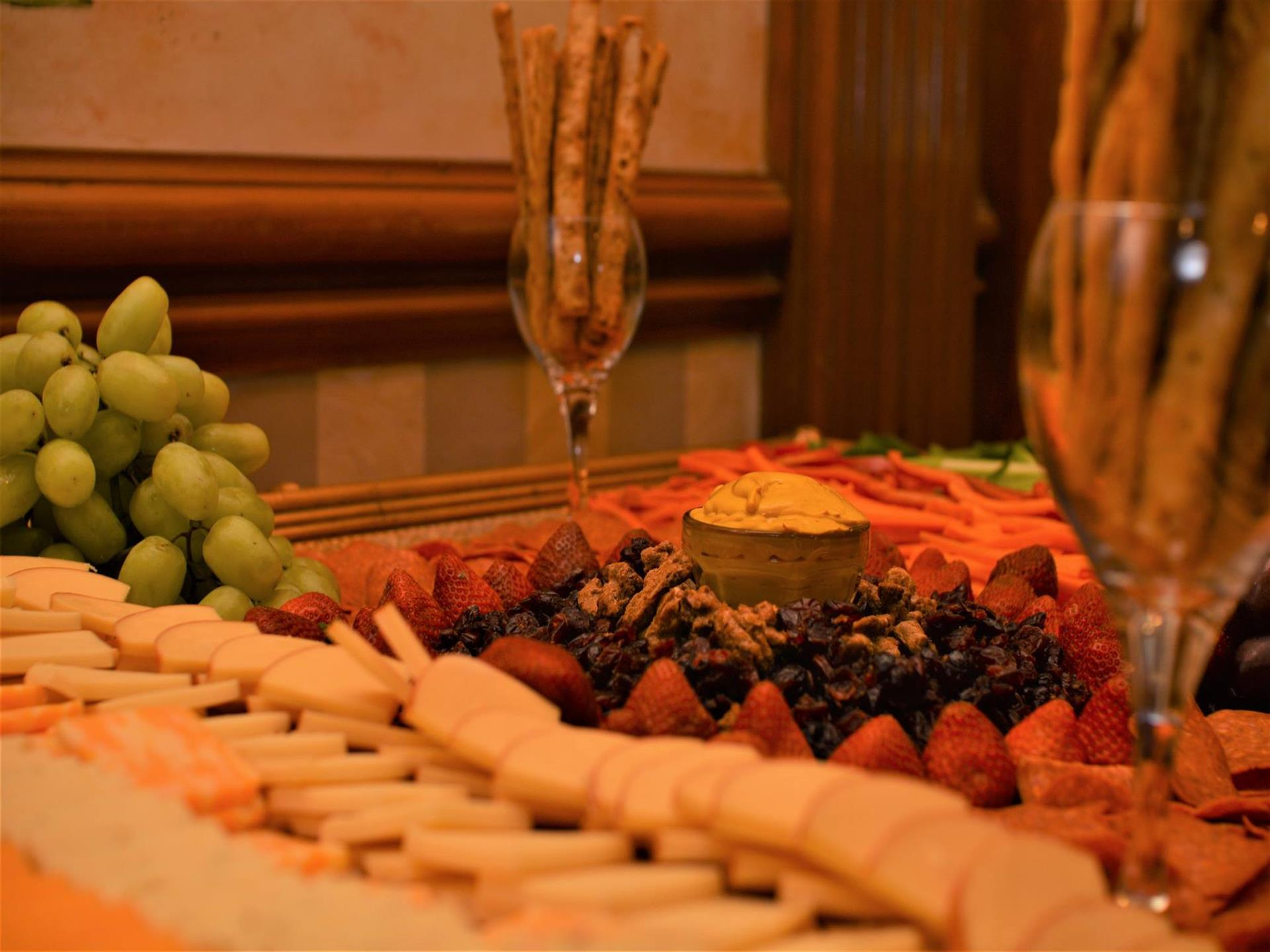 cheese and crackers and fruit platters