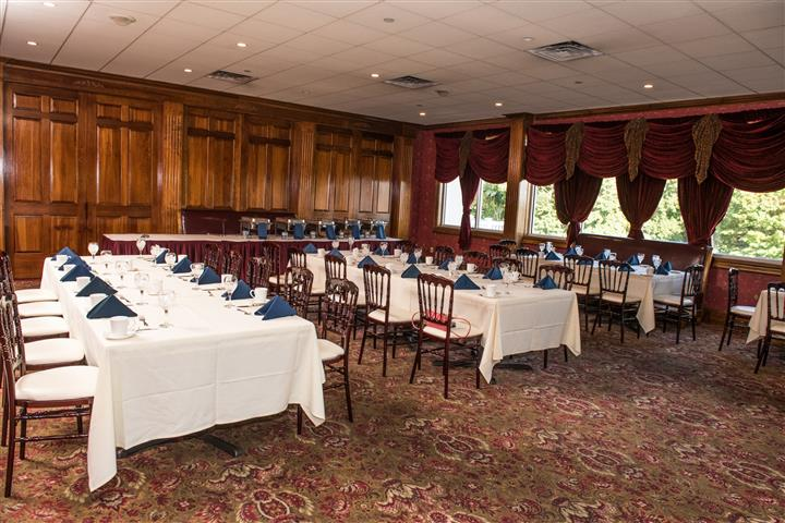 wide view of three long tables