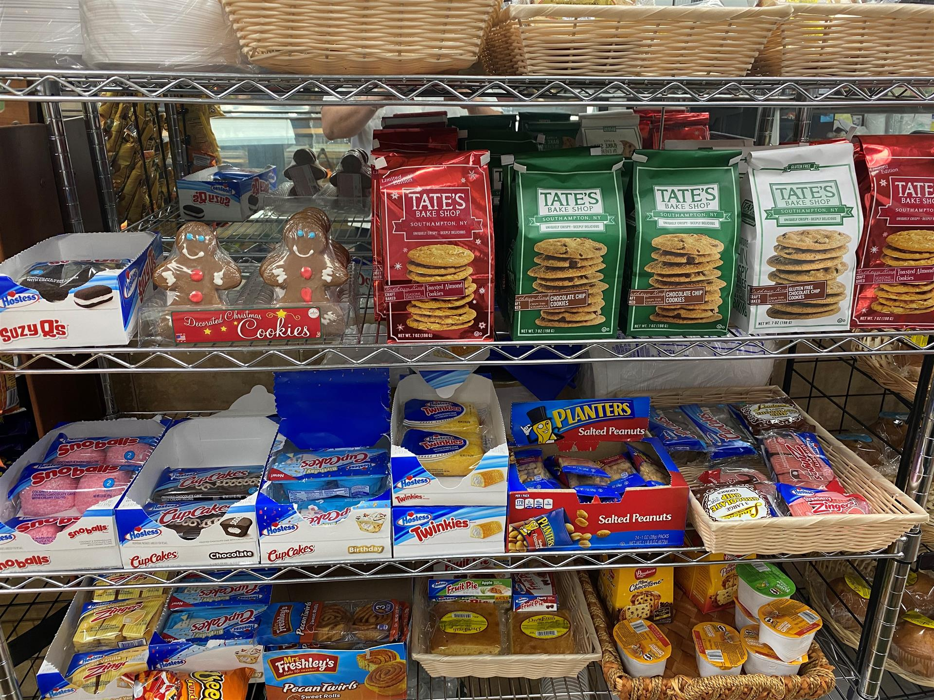 shelves of cookies and snack cakes