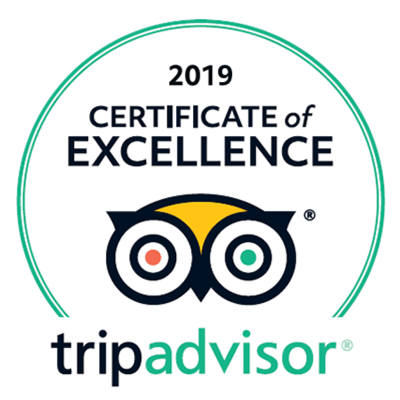 Trip Advisor certification of excellence 2019