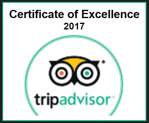 Certificate of Excellence 2016 winner. TripAdvisor