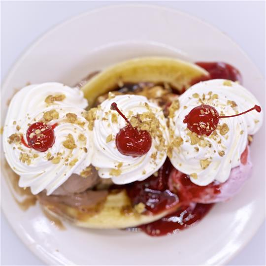 Banana Split topped with 3 cherry's