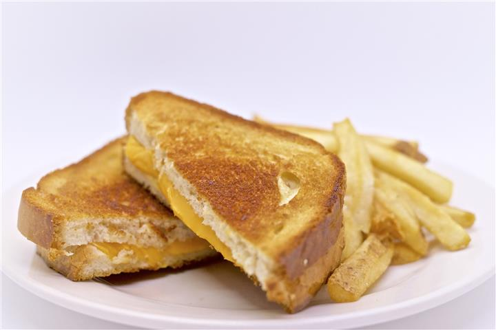 Grilled cheese sandwich with a side of french fries
