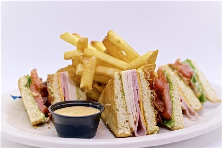 Sandwich cut into 4's served with french fries and dipping sauce