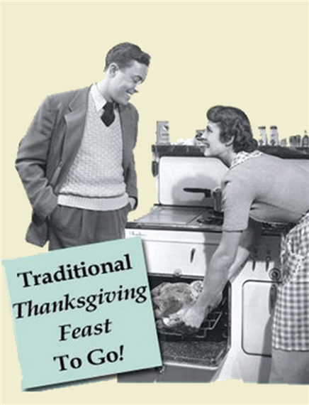 Old image of man and woman in front of an oven, with a thanksgiving turkey