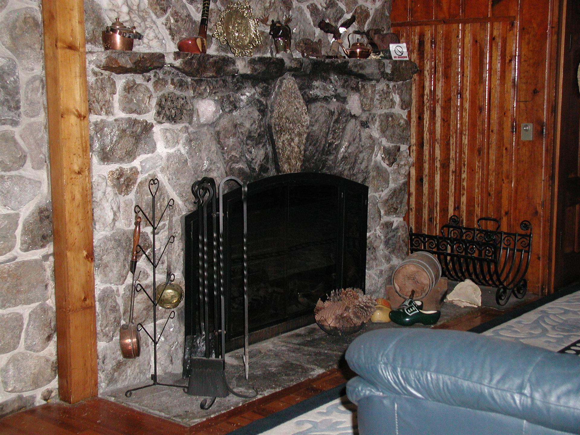 interior of moose lodge with a fireplace