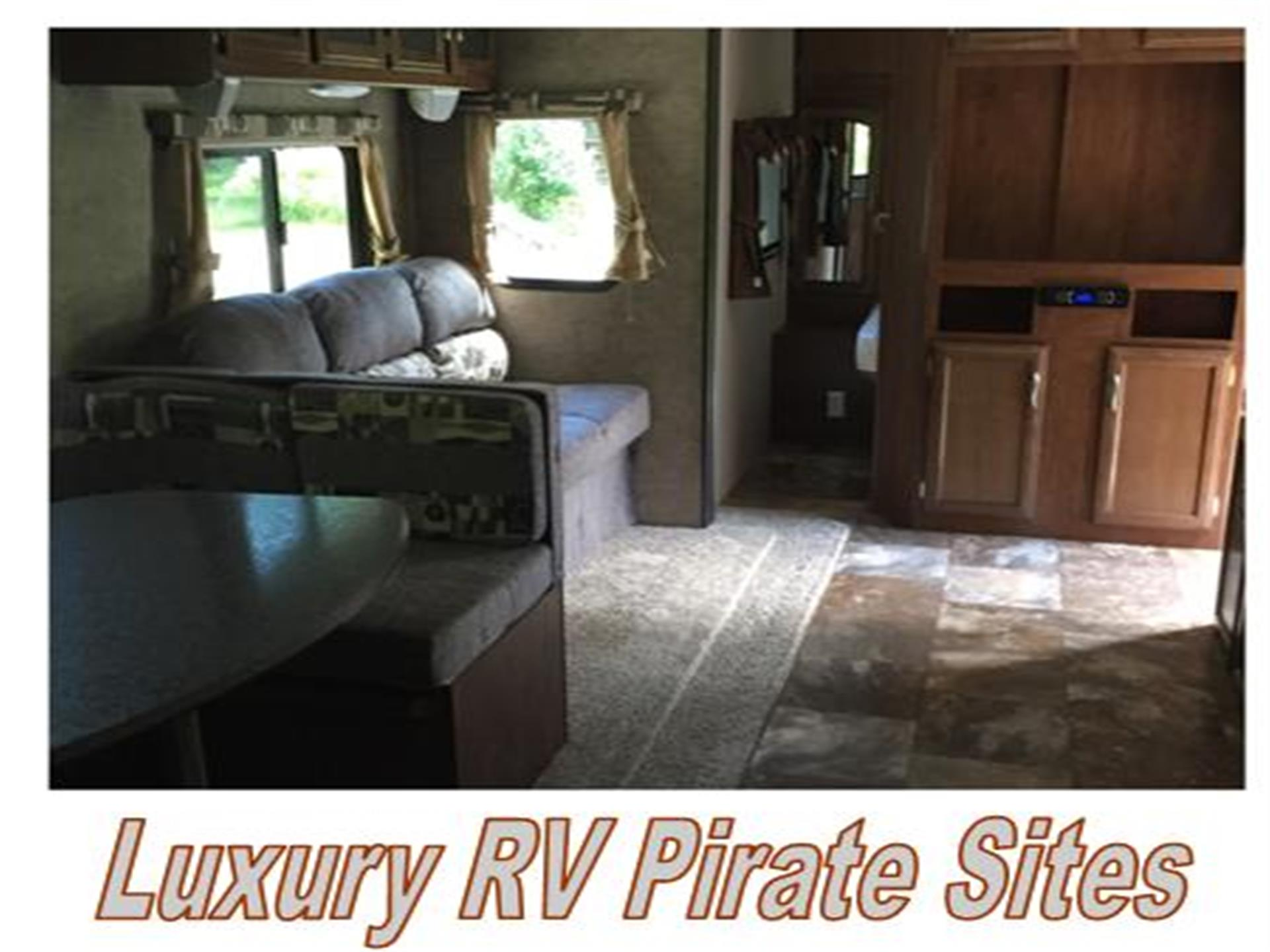 interior of a luxury rv rental displaying a couch