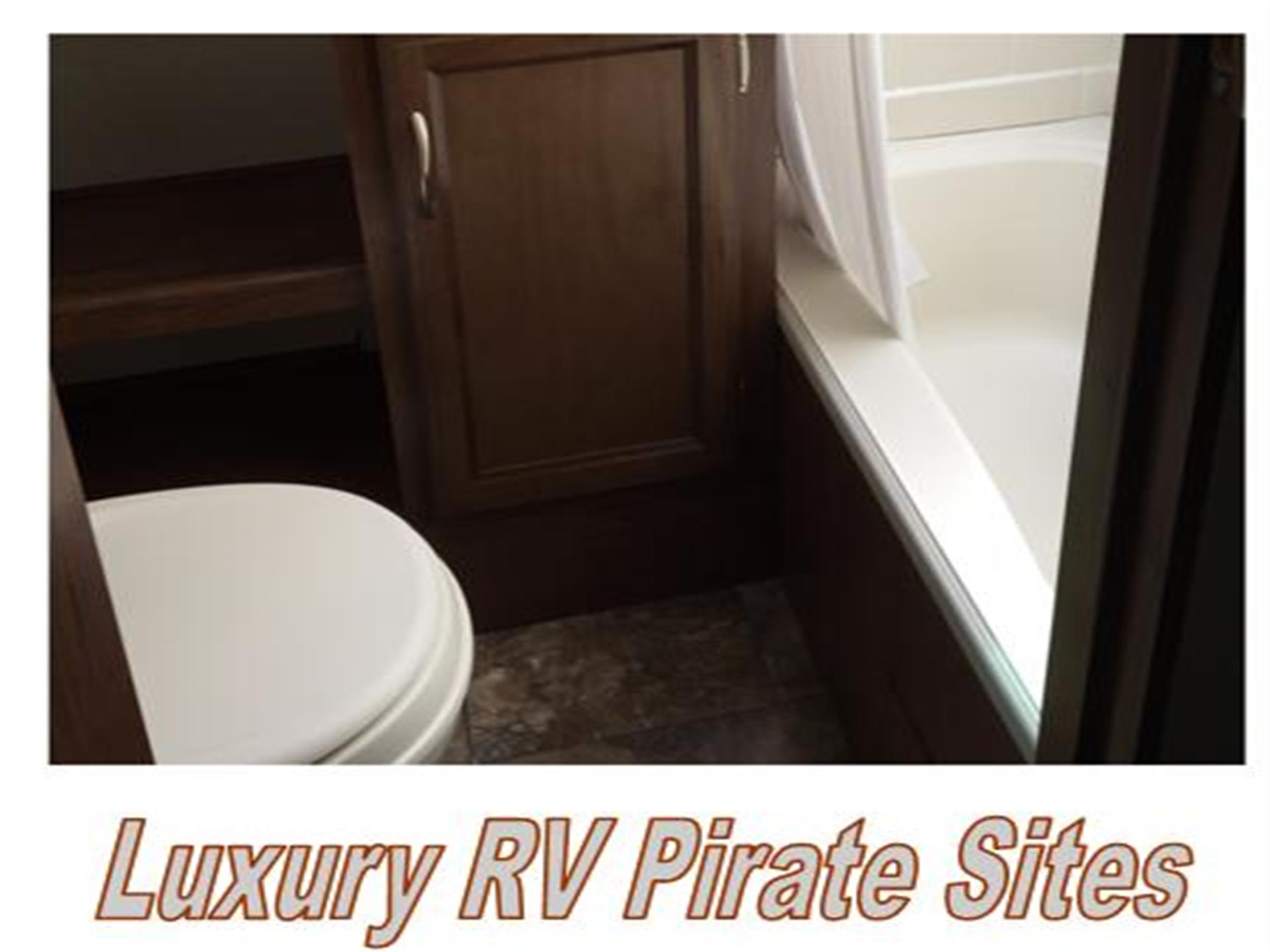 interior of a luxury rv rental with a full bathroom