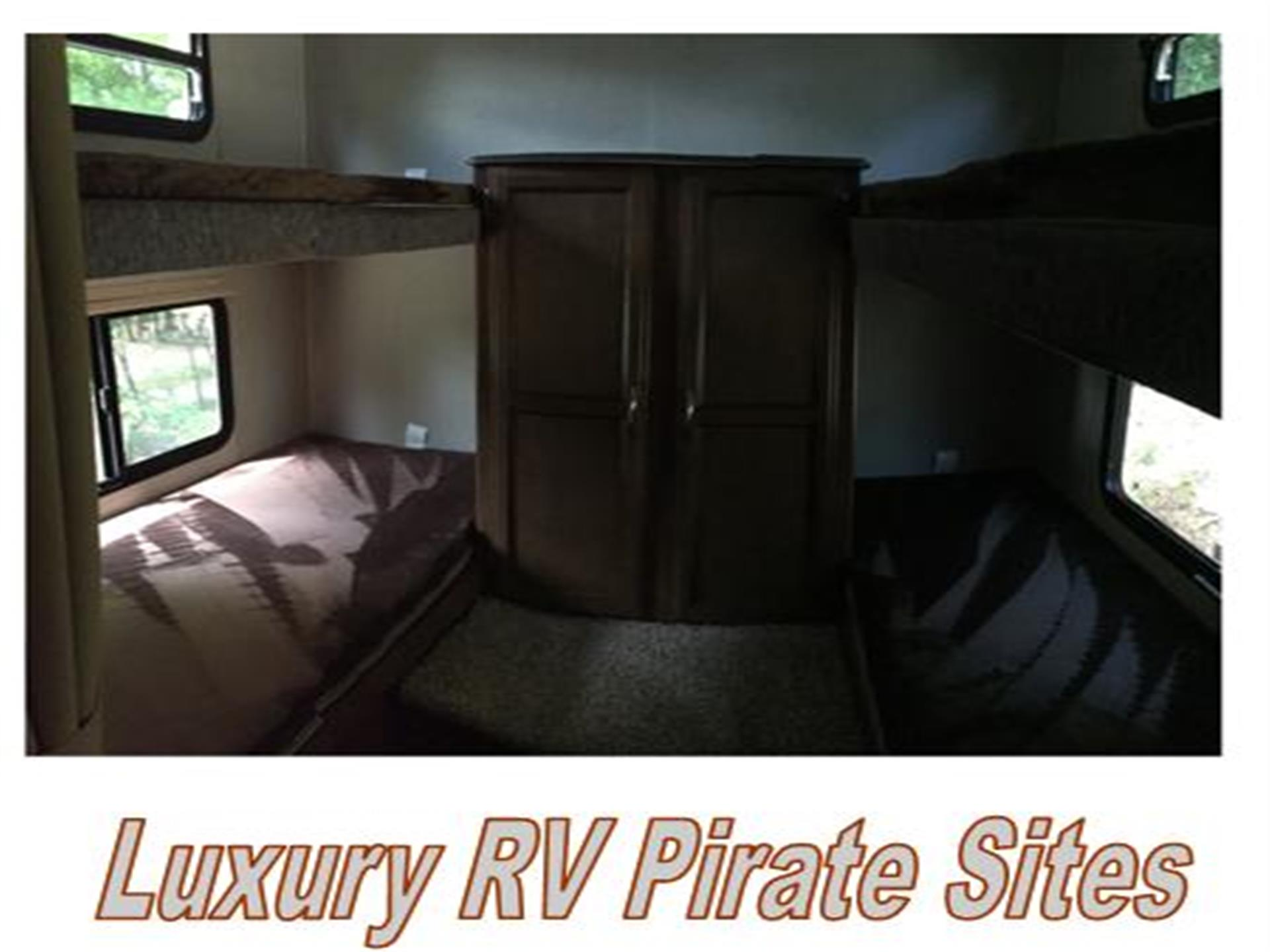 interior of a luxury rv rental with cabinets