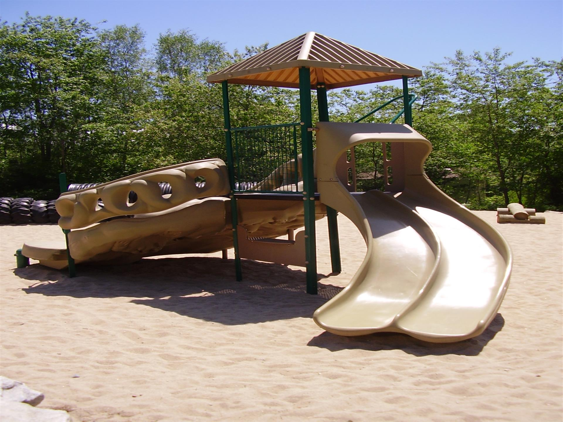 playground with various slides right across the street