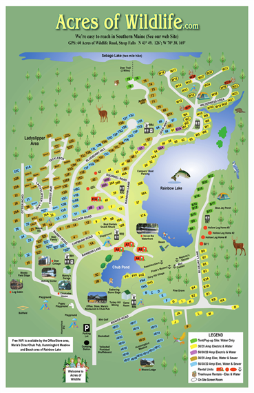 acres of wildlife campground Map