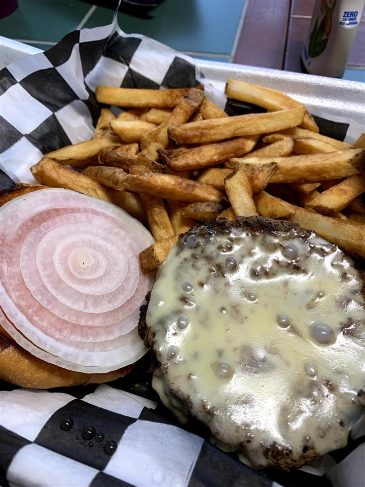 Cheese Burger Basket with Fries (Tomato and Onion extra)