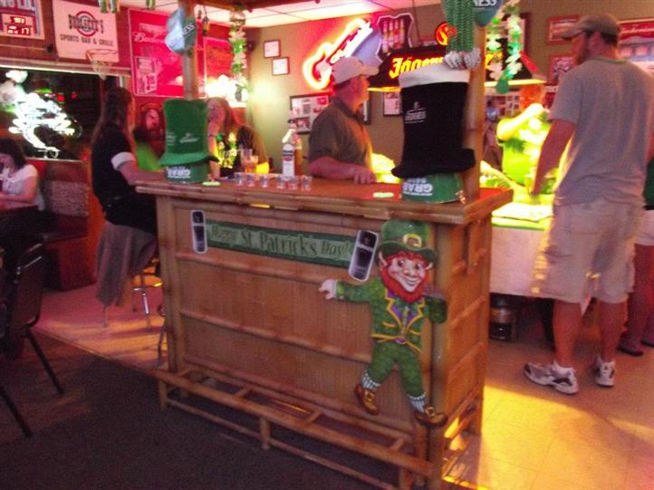 customer dressed up for saint patricks day themed party