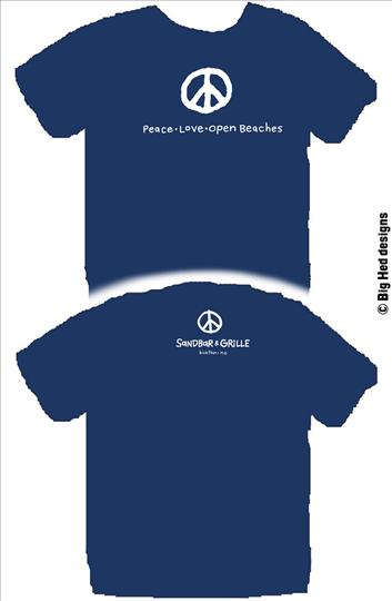 a peace sign and text on a t-shirt