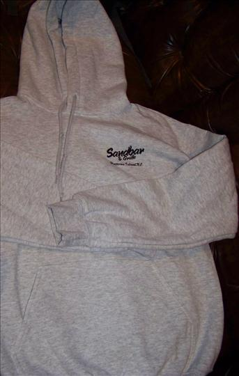 "a plain white sweatshirt with the text ""Sanbar Grille"" on the top right"