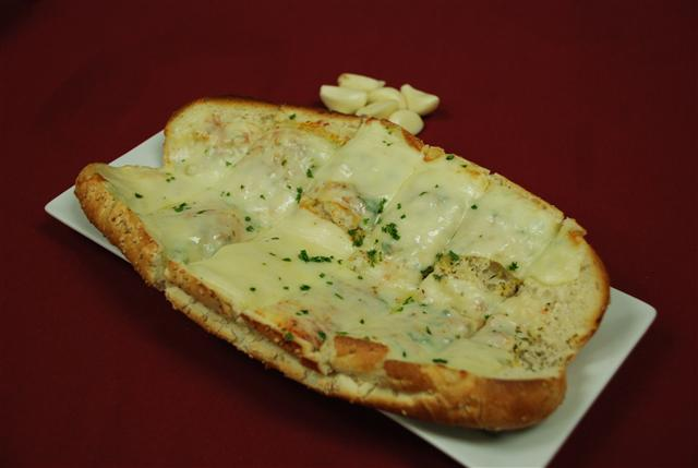 Garlic bread topped with cheese