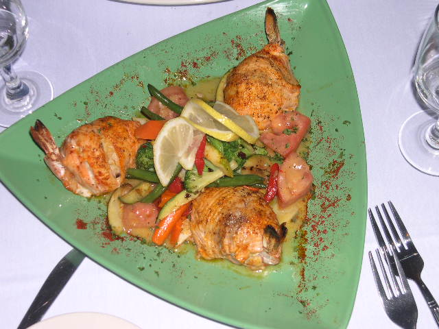 Shrimp dish with roasted vegetables