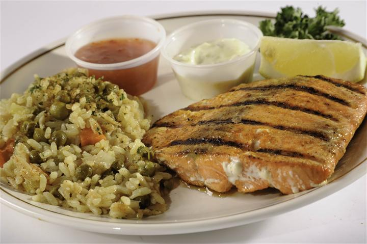 grilled salmon with a side of vegetable rice