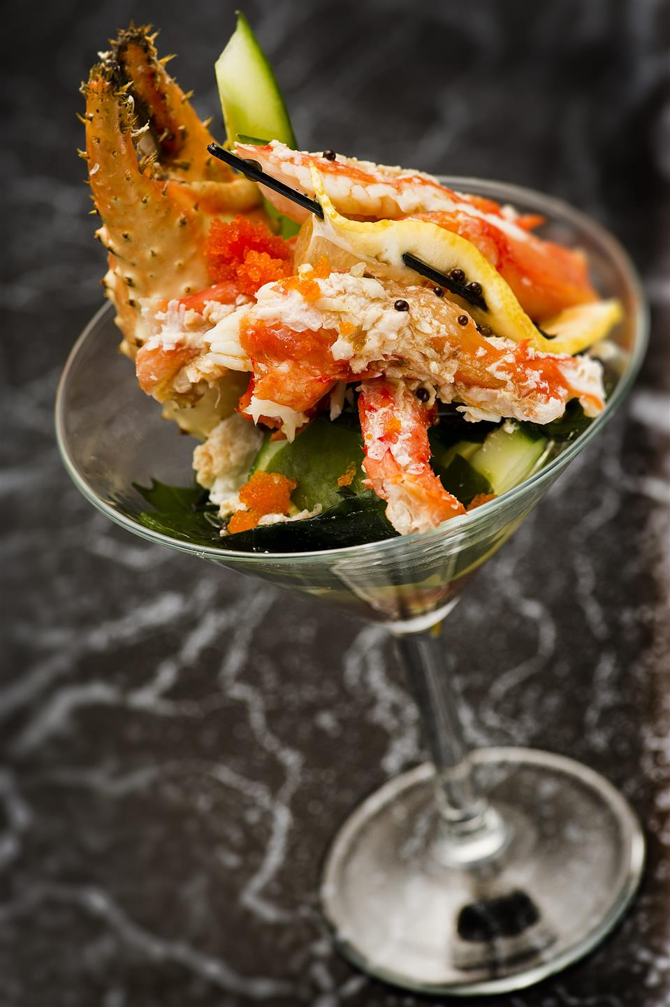 cold crab meat cocktail with fresh veggies