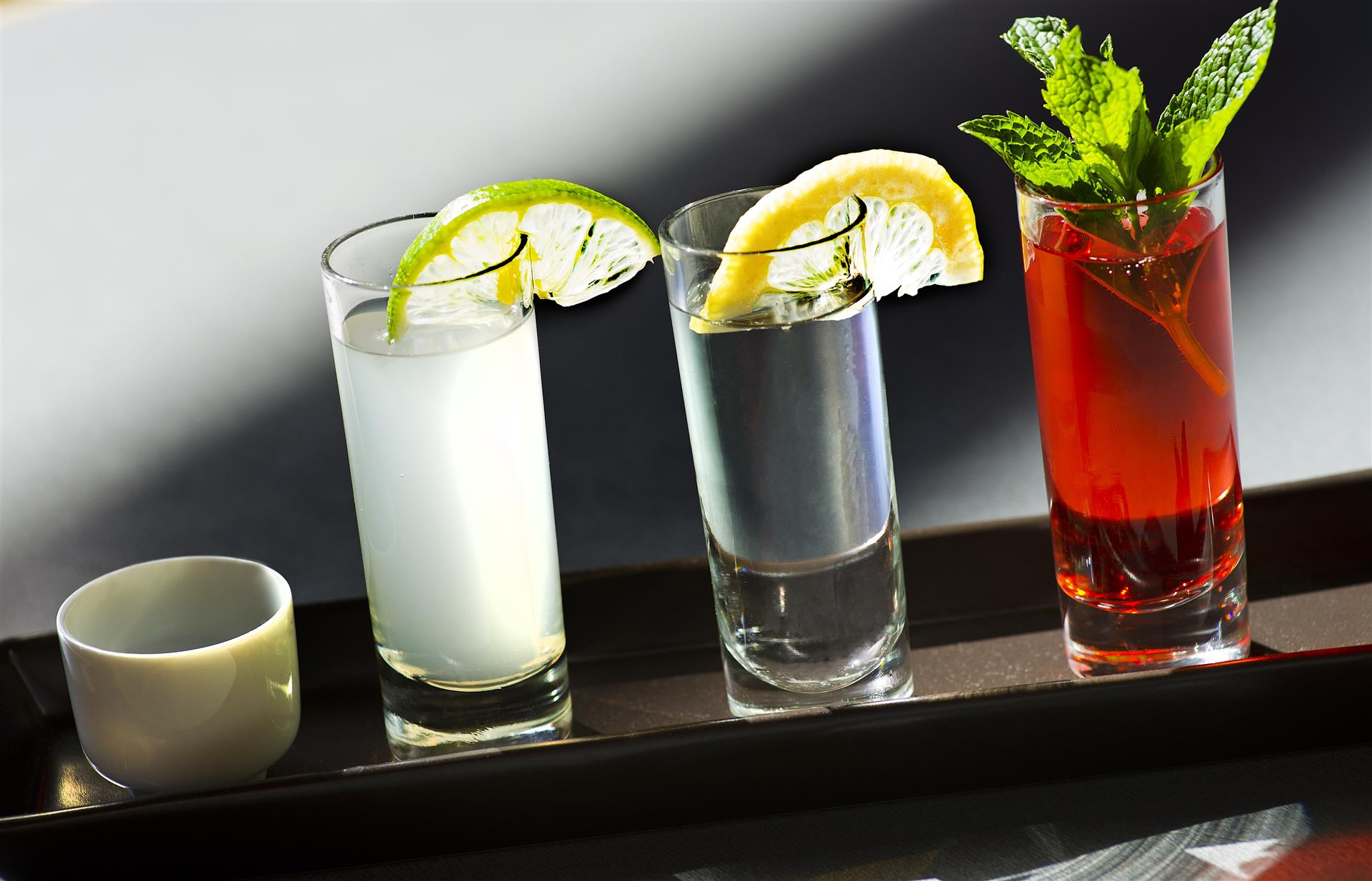 various cocktails on display across the bar