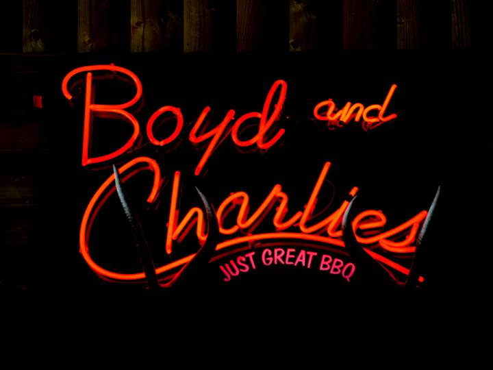 Boyd and Charlies neon sign