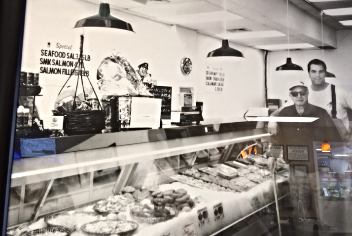 vintage photo of the display case inside the market