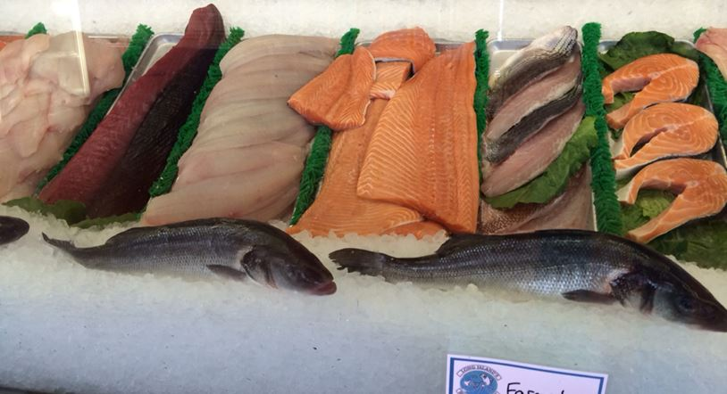 raw fish on display in case