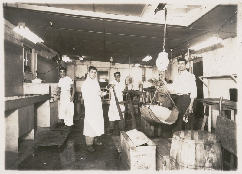 vintage photo of workers inside the building