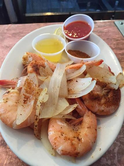 peel and eat shrimp with assorted dipping sauces