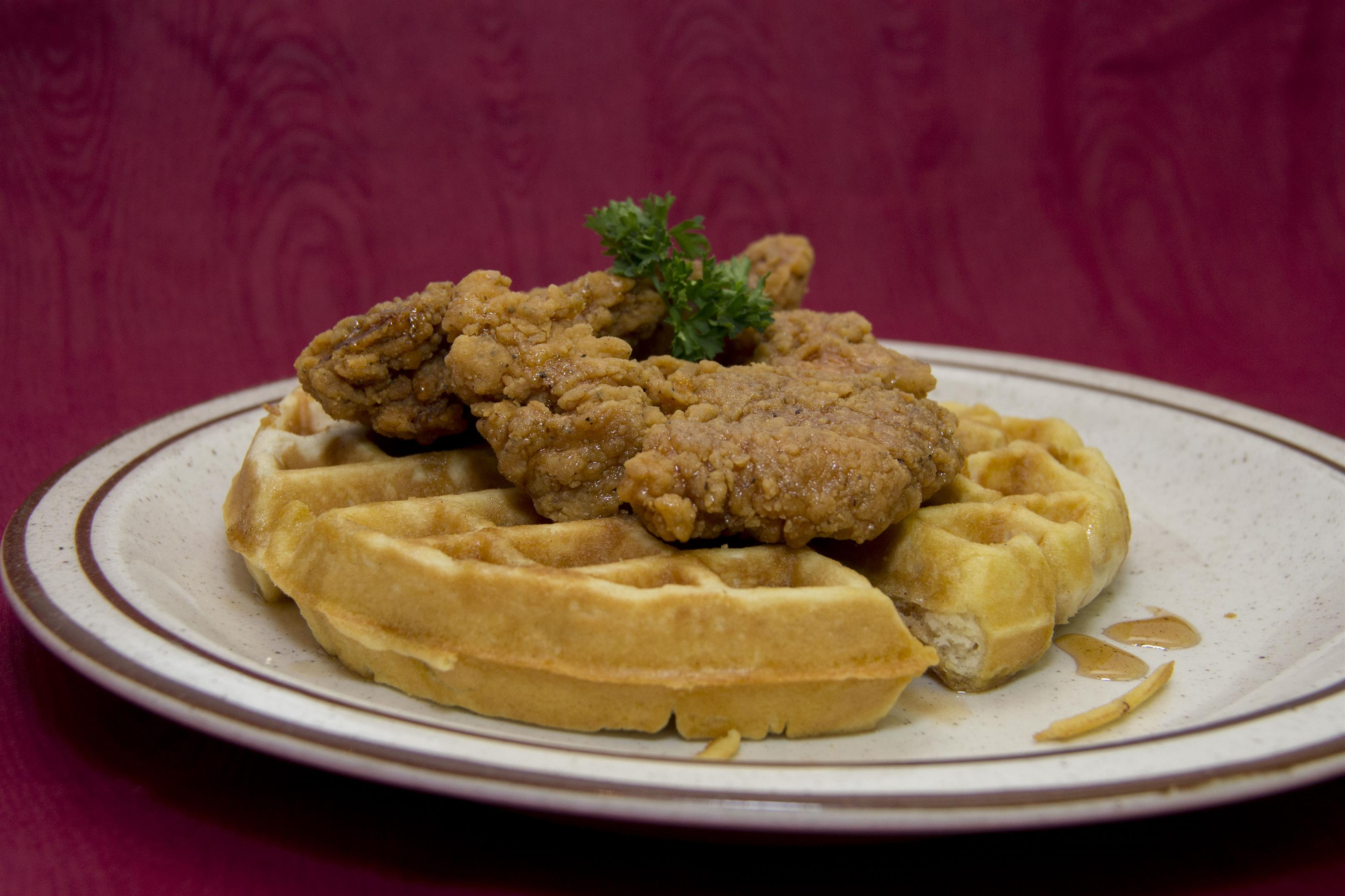 side view of chicken and waffles