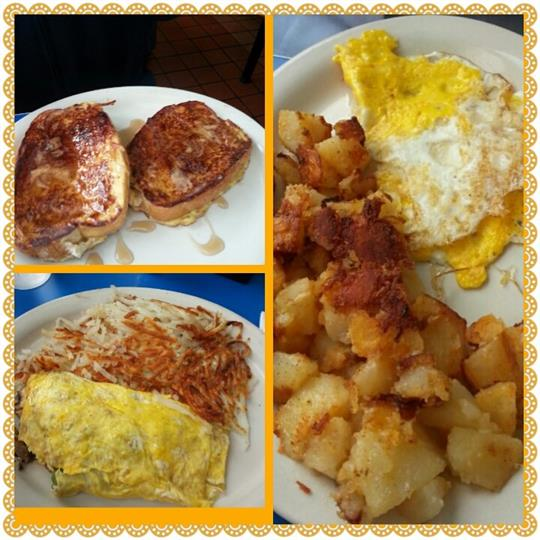 Collage of french toast, omelette, hash browns, eggs, home fries