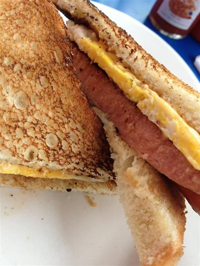 Ham, egg, and cheese sandwich