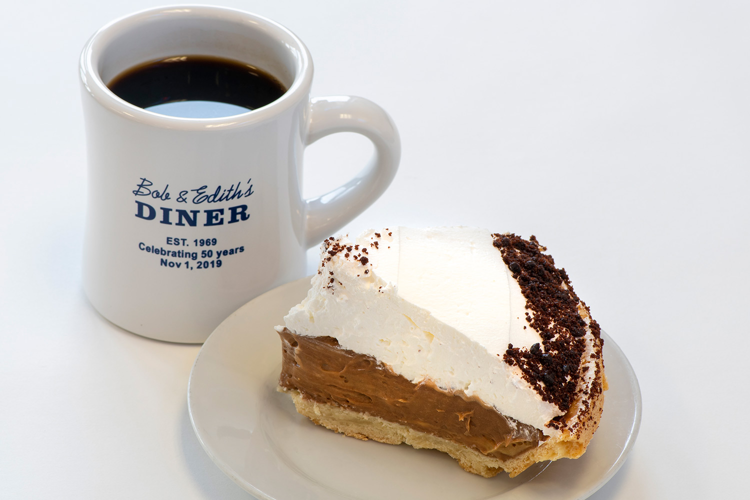 Chocolate Cream Pie and coffee