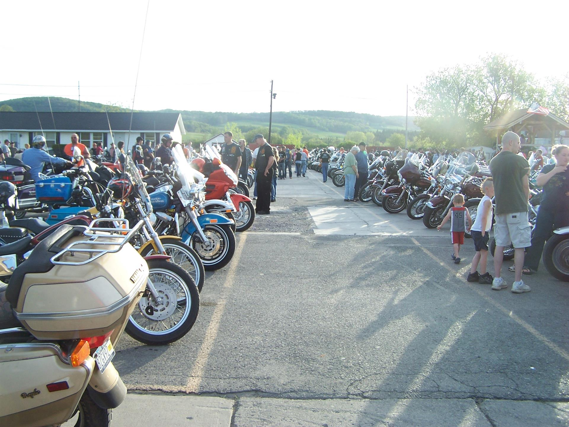 Parking lot with motorcycles