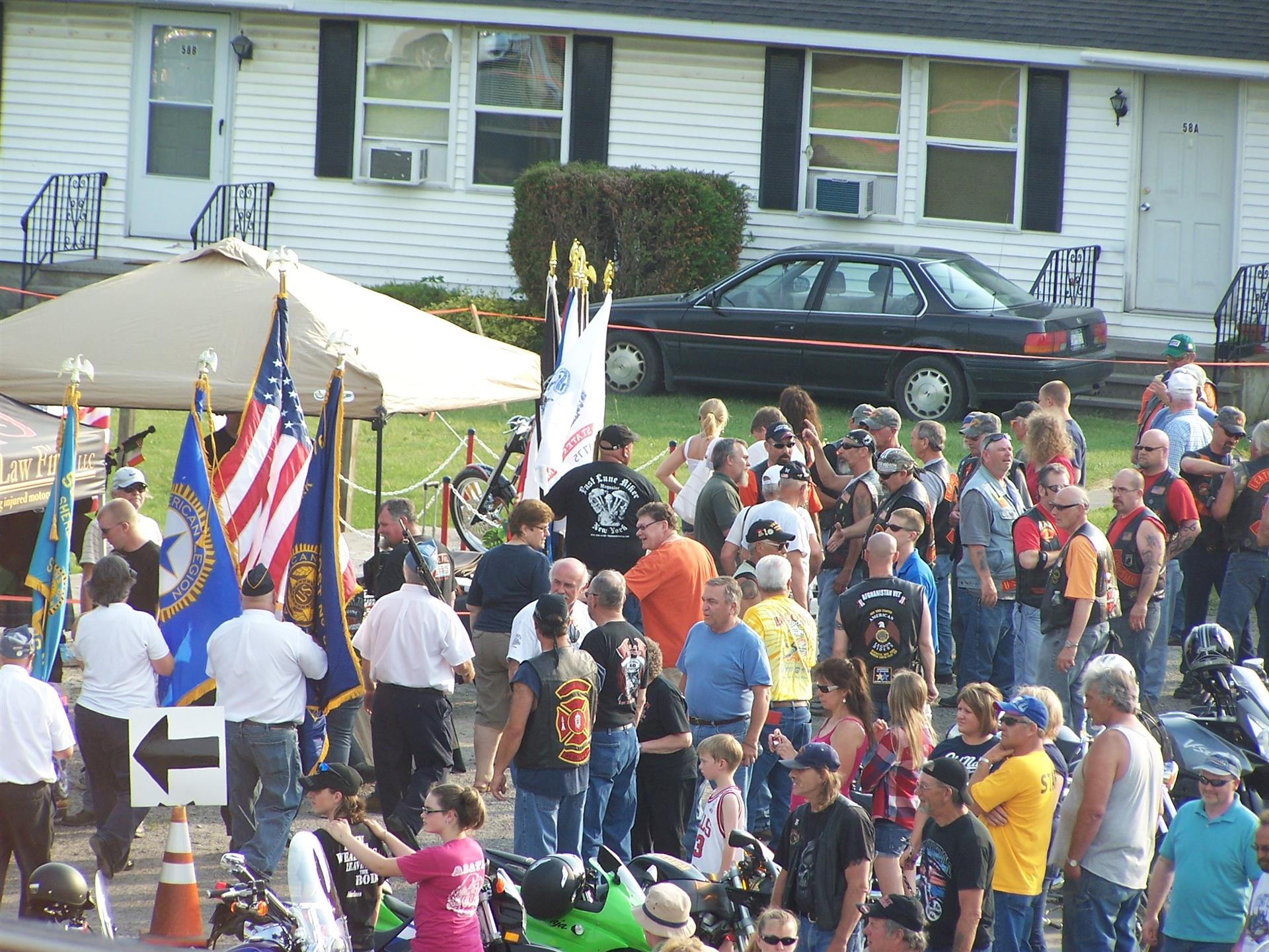 Crowd gathering at bike night