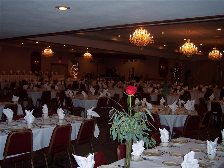 inside of dining area set for catering event.