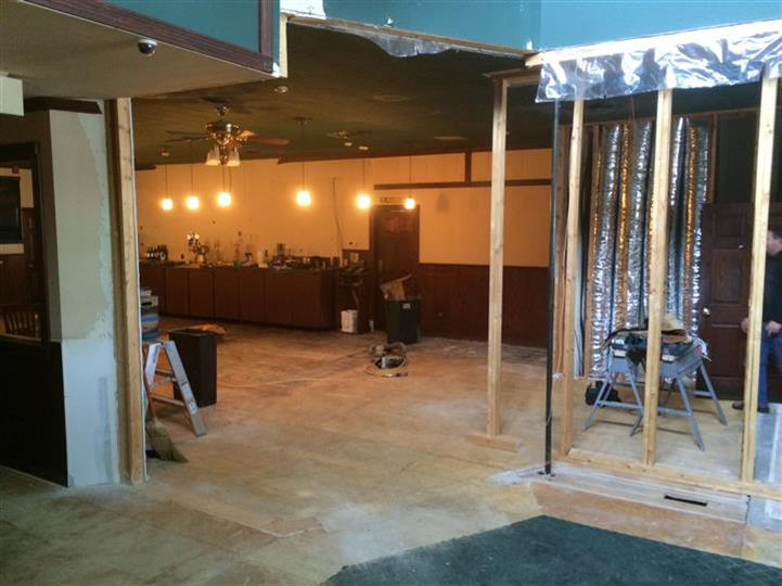 Image from remodeling of the dining room area, view from door.