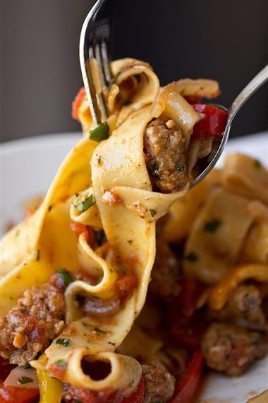 pasta with sauce and sausage