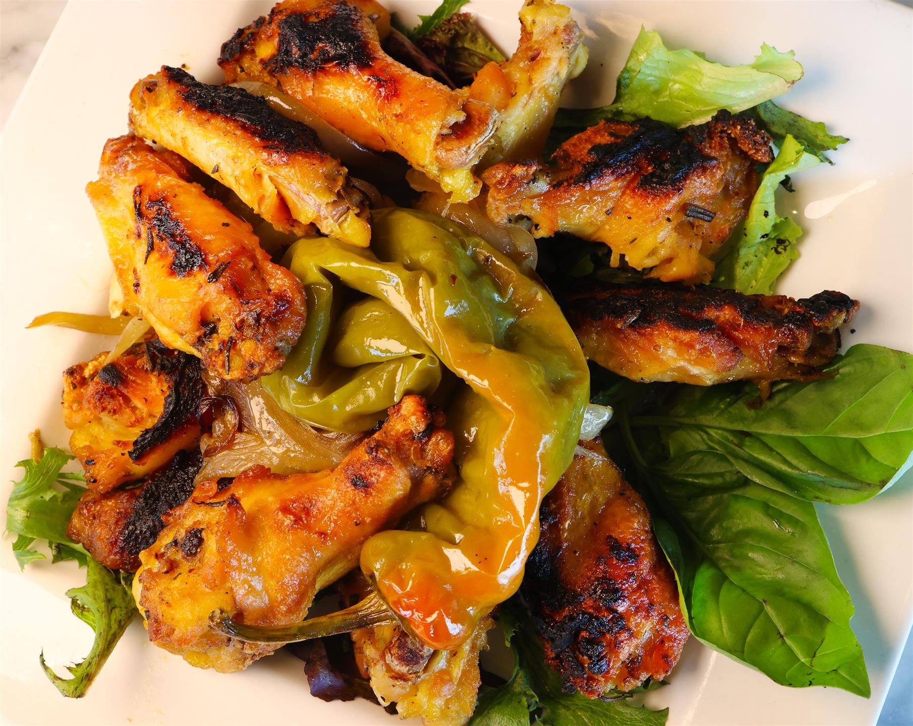 wings with Caramelized Onions, And Long Hot pepper