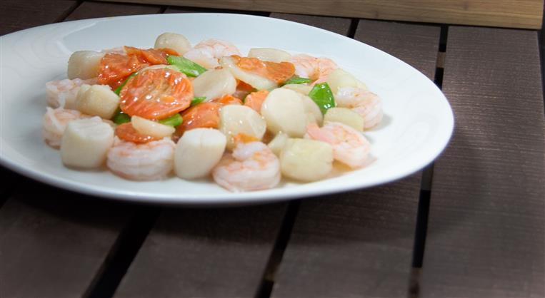 steamed shrimp with vegetables