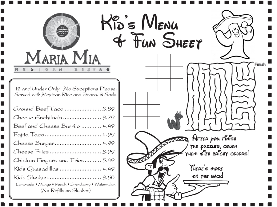 Maria mia mexican bistro kids menu for Free printable menu templates for kids
