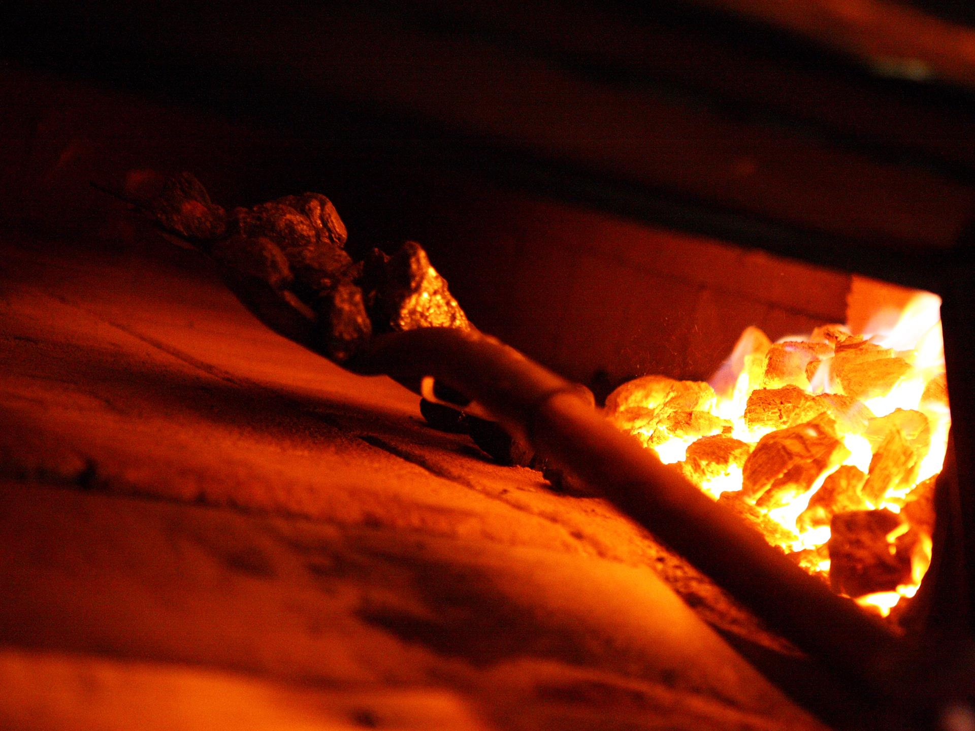 interior of coal fired oven