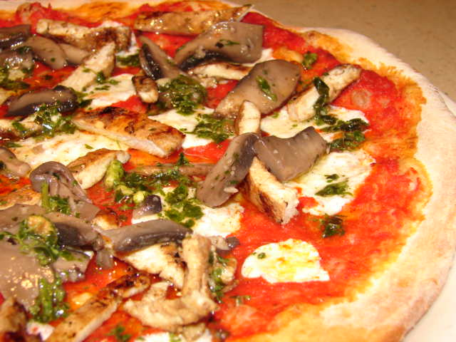 Margarita pizza with mushrooms