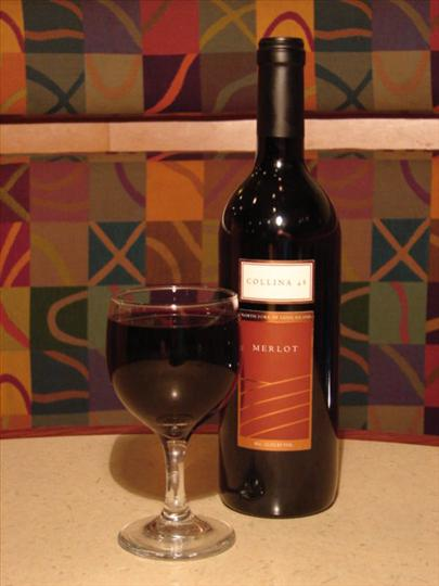 Bottle of red wine with a wine glass filled with wine
